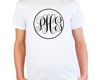 Mens & Womens Personalized Monogram T-Shirt / Unique Monogram Text Shirts / Make your own Words Shirt + Free Random Decal