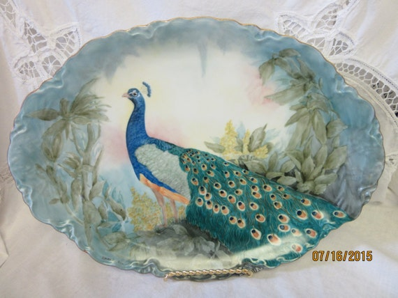 Peacock Large Platter, JHR Bavaria Hutschenreuther Porcelain, Ceramic Pottery, Hand Painted by B. Marsh