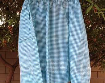 Free Shipping! Vintage Teal Blue and White Hand Cross Stitched Apron