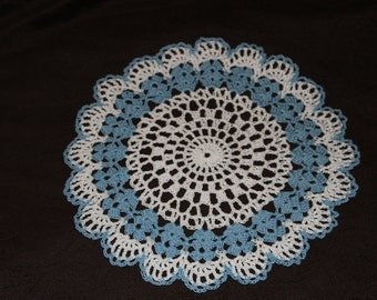 New Hand Crocheted Doily - white and delft blue