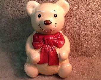 Vintage Metlox Poppytrail Bear Cookie Jar <> Bow Tie Beau Bear <> E564 <> 1970's <> EXCELLENT CONDITION