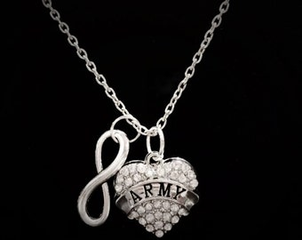 Infinity Crystal Army Necklace, Heart Military Soldier Wife Girlfriend Gift Necklace