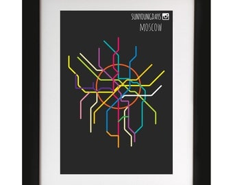 moscow metro line map 4'X6'