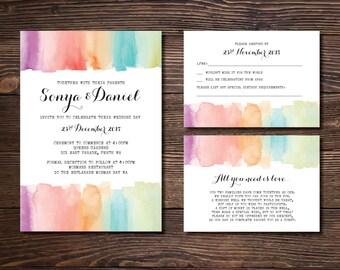 Custom Printable Wedding Invitation Set - Rustic Watercolour Calligraphy design