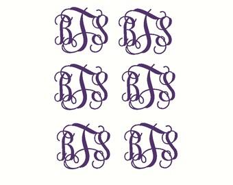 Vine Monogram Decals Monogram Decal Set of Monogram Decals Small Decal Labels School Binder Labels Folder Decal Labels