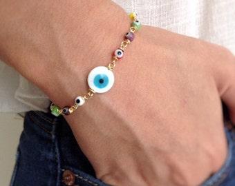 Delicate Evil eye bracelet, gold evil eye charm bracelet, evil eye jewerly, Jewish Kabbalah bracelet Mal de Ojo, protection amulet bracelet