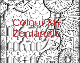 Digital Download 3D Zentangle - A4 Size Colouring Page