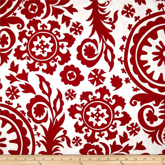 Modern Curtain Panels - Red Pair Curtains - Suzani Window Drapes - Red ...