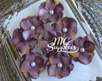 Lavender flower,flower appliques,headband flowers,embellish flowers,card making flowers,scrapbooking flowers,fabric flowers,8 pcs,174