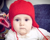 knitted baby hat, red baby hat, vintage pattern, 3-9 mths, Christmas baby hat, sparkly baby hat, ooak baby hat, Eastern style hat, UK
