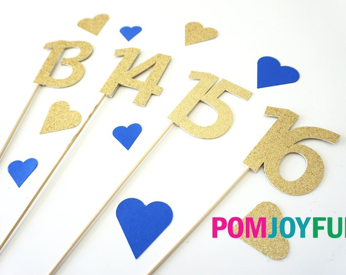 Glitter Table Number SET | Wedding Table Numbers|  Party Picks | Single Numbers | Glitter Number Cake Toppers | Number Stakes