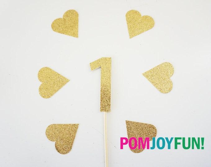First Birthday 1 Cake Topper Girl Gold Glitter Gold Number 1 cake topper, First Birthday BirthdayCake Topper, Party Picks