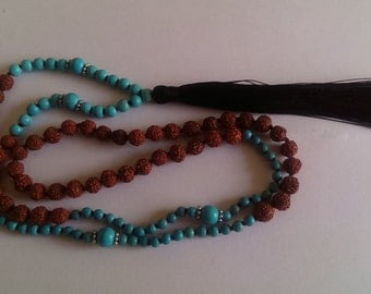 Handmade seed,stone bead with tassle necklace.