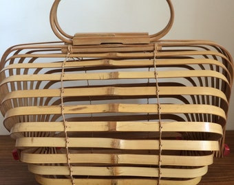 Bamboo basket bag 1940's