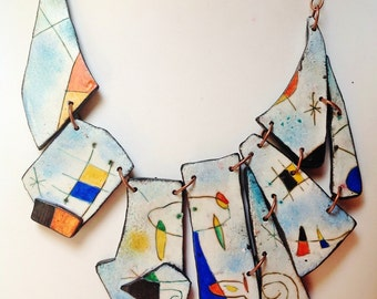 """Only Make to order - """"Mirò"""" necklace, unique, handmade, hand painted, unique, parure earrings, bracelet to order"""