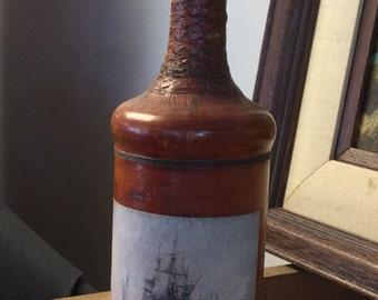 Vintage Italian Leather Covered Bottle