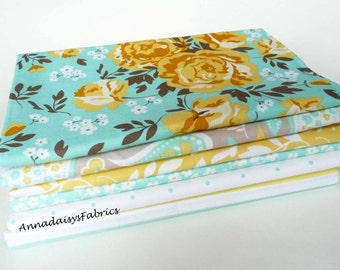 Yellow & Aqua Floral Fabric Bundle of 6, Riley Blake Fabric Bundle, Primrose Garden, One Half Yard Bundle of 6, Cotton