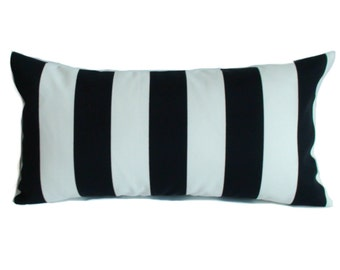Outdoor pillow cover, 12x22, Lumbar pillow, Outdoor throw pillow, Outdoor decorative pillow, Black and white stripe pillow, Porch pillow