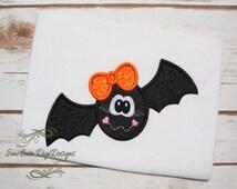 Cute Girl Halloween Bat Applique Design
