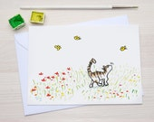 Cat and Butterflies - Greetingcard