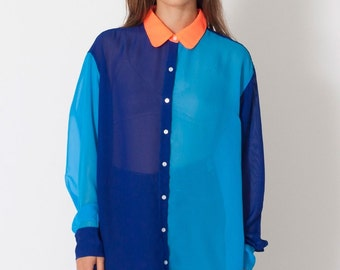 Oversize color block chiffon blouse