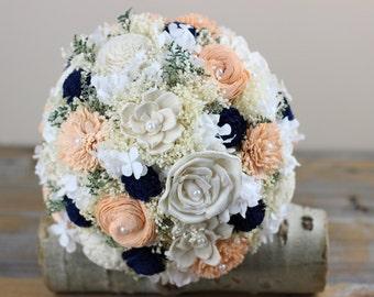Peach, Navy, Bridal Bouquet, Sola Flower Bouquet Alternative Bridal Bouquet,Keepsake Bridal Bouquet,Romantic Bridal Bouquet,Woodland Bouquet