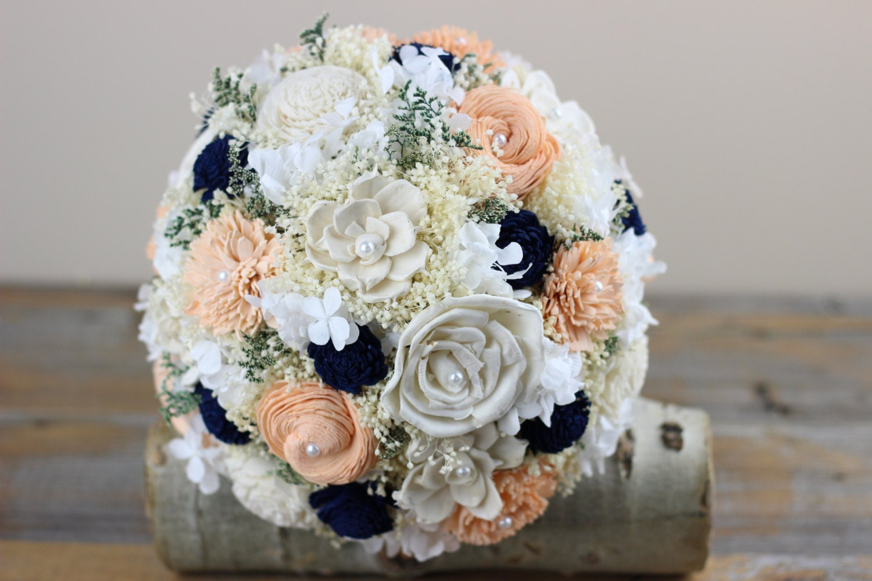 Peach Navy Bridal Bouquet Sola Flower Bouquet Alternative