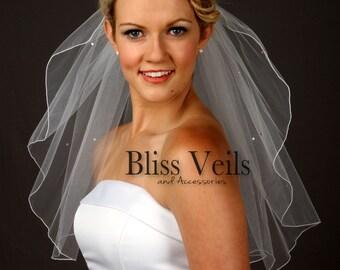 Shoulder Veil, Rhinestone Veil, Wedding Veil, Short Veil, One Layer Veil, Bridal Veils, Bliss Wedding Veils, Fast Shipping!