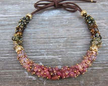 Colorful necklace Watermelon tourmaline necklace Tourmaline choker Gemstone jewelry Pink tourmaline Ombre necklace Multicolor necklace