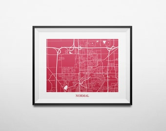 Normal, Illinois Map Illinois State University Abstract Street Map Print