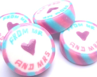 Lilac Pink and Blue Wedding Favour Rock sweets with From Mr and Mrs in Spearmint Flavour