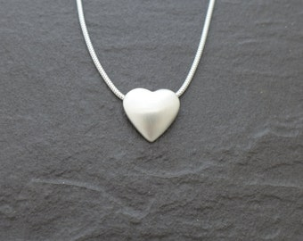 Fine Silver 3D Heart Pendant