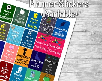 Keep Calm and Plan- Themed Stickers for Planner- Print at Home- Digital File