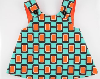 Pinafore / Sundress, 6-12 Months, Reversible Turquoise and Orange, Toddler