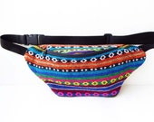 Ethnic fabric  Fanny Pack handmade Hip Bag/belt bag/bum bag/festival fanny pack/You can add white pom-pom