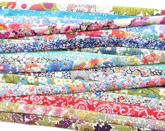 5 yards mystery grab bag of a selection of Liberty bias binding fabric cut offs, assortment of colours of varying lengths, fabric mix