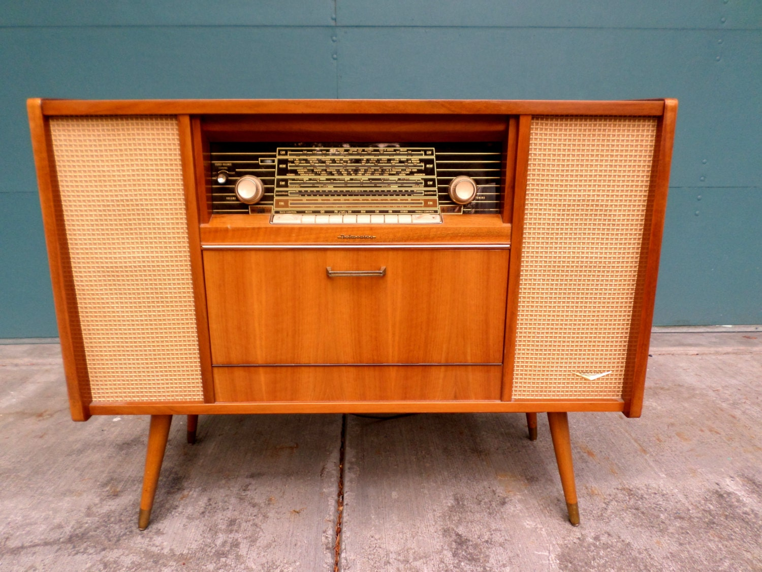 Vintage Mid Century Modern Console Stereo Korting Delmonico Model 941 W Telefunken Turntablelong Short Wave Radiofm Working Condition on telefunken console radio