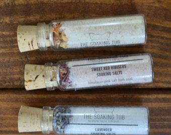 Soaking Salts - Bath Salts: Sample Vial. Natural Bath Tea Soak, Lavender Calendula, Rose, Orange, Milk