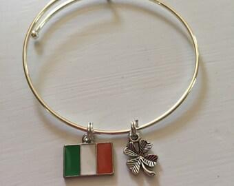 Irish flag and 4-leaf clover Irish pride bracelet