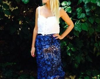Tribi Skirt/Vintage Tribal Skirt/Safari Skirt/70's Tie Dye Skirt/Festival Skirt/Boho Maxi Skirt/Gypsy Skirt/Hippy Maxi Skirt/S