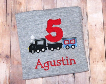 Choo choo! Personalized train themed birthday shirt- perfect for transportation themed birthday party!