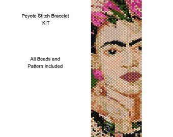 Frida Kahlo Pink Earrings Peyote Stitch Bracelet Beading KIT P17 - Includes Pattern and Delica Beads for Bracelet