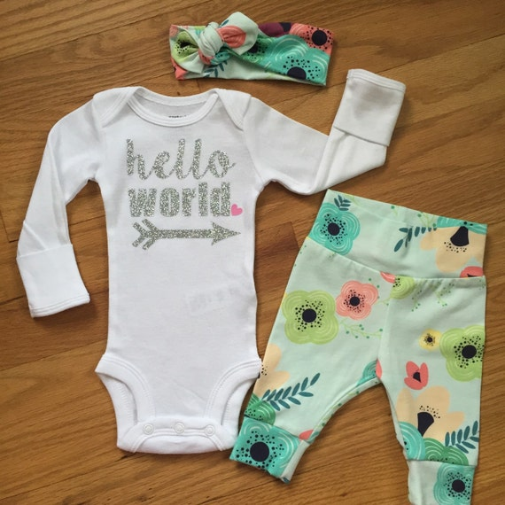 Baby girl going home set Floral on Light Blue theme hello ...