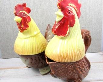 Vintage Hen & Rooster Salt Pepper Creamer and Sugar Holder