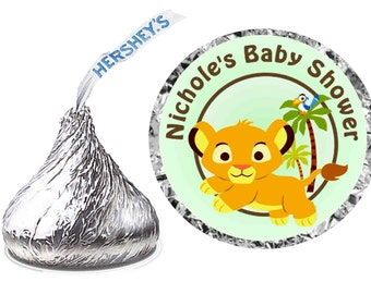 216 ~ Lion King Baby Simba Baby Shower Favors Hershey Kiss Kisses stickers Labels ~ FREE SHIPPING