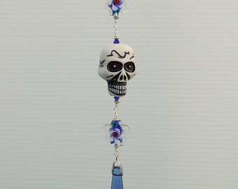 Blue Skull Day of the Dead Ceiling Fan Pull
