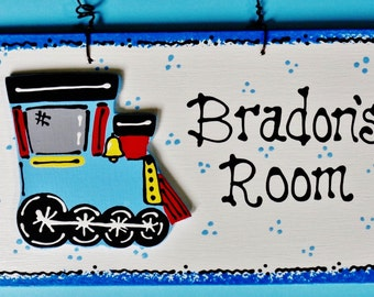TRAIN OVERLAY Personalized Room SIGN Door Locomotive Engine Plaque Country Wood Crafts Handcrafted Handpainted
