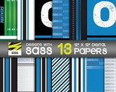 Digital Paper, Carolina Football, Panthers, Football, Sports, Blue, Silver, Commercial Use, Scrapbook paper, Football Pattern, background