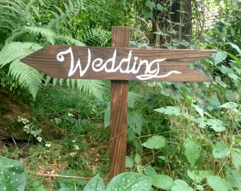 Rustic wedding wood directional signs