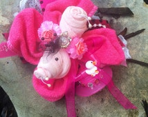 Glam girl's Pink Baby Shower Wrist Corsage! Usable  Socks, Washcloth, soother / pacifier! Super cute! New Mommy, New parents!